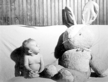 baby & giant rabbit